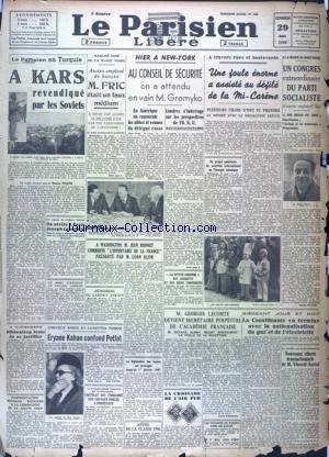 PARISIEN LIBERE EDITION DE 5 HEURES (LE) [No 502] du 29/03/1946