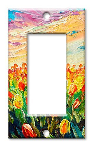 Art Plates Brand Switch/Wandplatte - Field of Lillies Single Rocker -