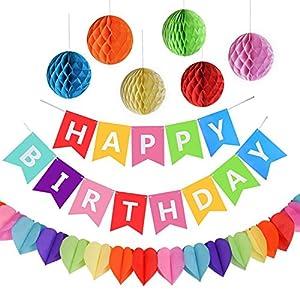 AMEITECH Geburtstagsfeier Dekorationen, Happy Birthday Spruchband mit 6 Wabenbällen und Einer Regenbogen-Papier-Girlande, Partyzubehör