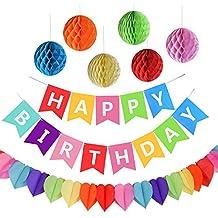 AmeiTech Fiesta de Cumpleaños Favores, Feliz Cumpleaños Decoración Banner con 6 Pack Honeycomb Balls y