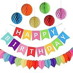 """Idea Regalo - Kit Decorazione Festa di Compleanno, Striscione """"Happy Birthday"""" con 6 Sfere a Nido d'ape e una Decorazione di Carta Arcobaleno, Party kit"""