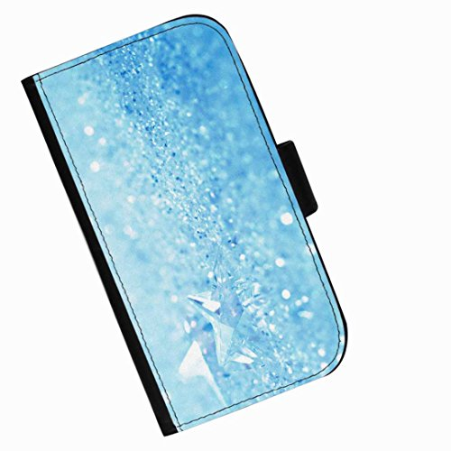 Hairyworm - Glass crystals on pale blue background Huawei P8max leather side flip wallet phone case, cover with card slots, money slot and magnetic clasp to close. Huawei P8 max photo phone case