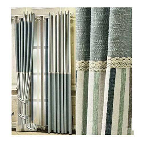 YANDANTY Moderne minimalistische Nähvorhänge - Stoff Wohnzimmer Schlafzimmer Sonnenschirm Baumwollvorhang grün 135cm * 235cm (Breite * Höhe) enthält 2 Stück