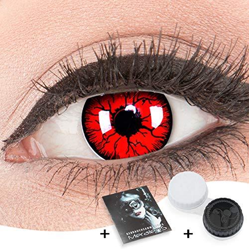 Funnylens Rote Kontaktlinsen 'Metatron' MIT STÄRKE - 1 Paar Farbige Crazy Fun Motivlinsen inkl. Behälter -2,00