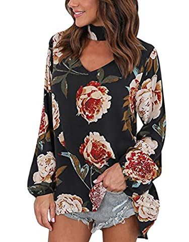 BBYES Women's Floral Print Long Sleeve Loose Tops Choker V Neck Blouse Shirt (Size L/UK 14, Black)