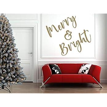 'Merry & Bright' Weihnachtszitat, Vinyl Wandkunst Aufkleber, Wandbild, Aufkleber. Haus, Wand, Fenster, Spiegeldekor.