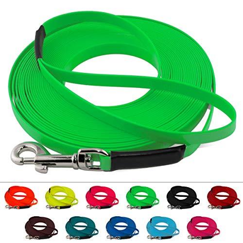 LENNIE Leichte BioThane Schleppleine, 16mm, Hunde 25-35kg, 2m lang, mit Handschlaufe, Neon-Grün, genäht