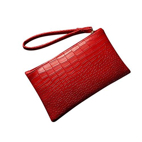 Damen Taschen JYJM Modische Zipper PU Mini Clutch Mädchen Geldbörse Vintage Leder Krokodil Muster Mini Handtasche Wallet Card Package (Größe: 19,5 cm (L) * 3 cm (W) * 11,5 cm (H) / 7,68, Rot)
