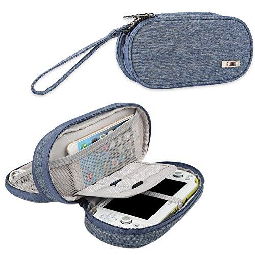 BUBM Sony PSV Tasche doppel - abteil etui, die tasche tragbare reiseveranstalter schutz für PS vita und anderes zubehör, Blau