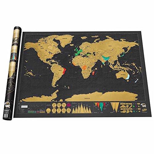 Cratch Off Weltkarte (82 x 60 cm) – Personalisierte Travel Tracker World Map Poster – perfekte Geschenk für Reisende – Dragon Flame (Poster Dragon Großes)