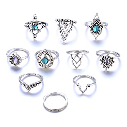10pcs Vintage Punk Women Knuckle Rings Tribal Ethnic Hippie Stone Joint Ring Set