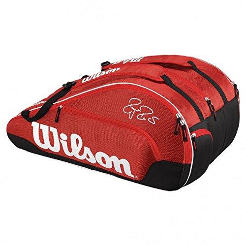 Wilson Portaracchette Federer Squadra Iii 12, Rosso, 75 X 34 X 35 Cm, 89 Litri, Wrz833612