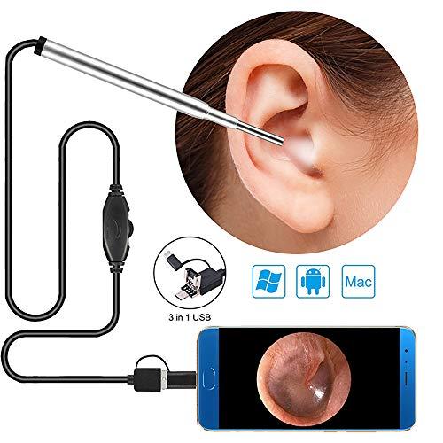 Ejoy USB-Ohrendoskop 3.9MM Objektiv der digitalen Ohr-Otoskop-Inspektionskamera mit 6 LED-Leuchten für Windows und Mac,Silver