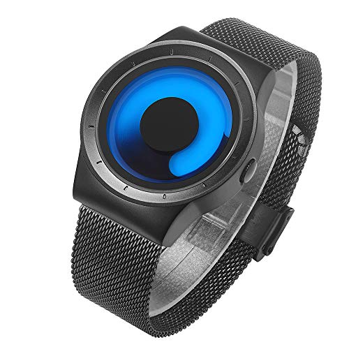 BIDEN Herrenuhren Blau Mode Einzigartiges Coole Kreativ Quarz mit Edelstahl Mesh Armband