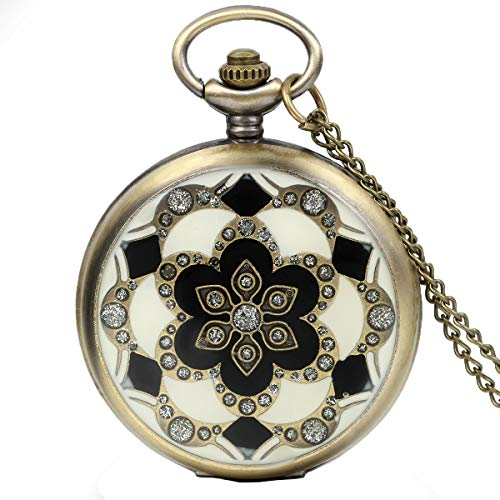 JewelryWe Damen Taschenuhr Epoxid Kirschblüte Kettenuhr Analog Quarz Uhr mit Halskette Kette Umhängeuhr Pocket Watch Bronze