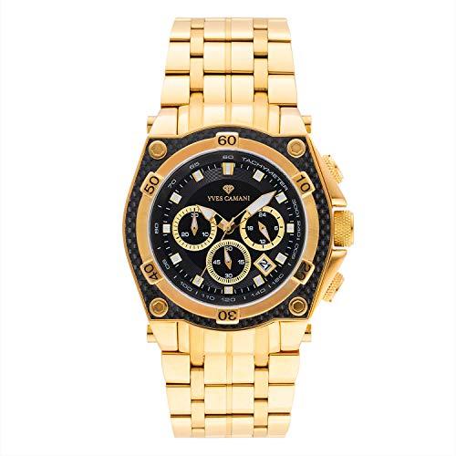 YVES CAMANI Claude Herren-Armbanduhr Chronograph Analog Quarz Edelstahlarmband Edelstahlgehäuse (Edelstahl - Gold)