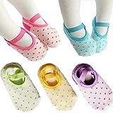 5 paires chaussettes anti-dérapantes pour 8 - 36 mois bébé fille Mary Jane No-Show Chaussettes Chaussettes cheville Footsocks Sneakers