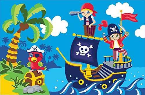 Kinderteppich für Jungen Piraten - 80x120cm