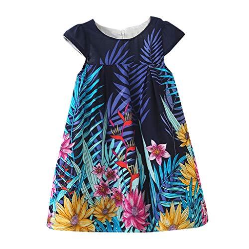 Lenfesh Kinder Mädchen Ärmellose Tanzparty Blumendruck Prinzessin Kleid Clothes Casual T-Shirt Kleid Sommerkleider