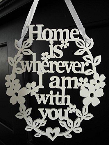 Item Home is Schriftzug Schrift Spruch Wanddeko Fensterdeko Vintage French Shabby chic