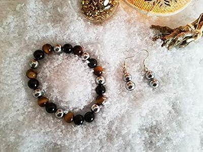 parure bracelet triple protection, bracelet hematite, bracelet oeil tigre, bracelet obsidienne, set cadeau lithotherapie, bracelet mauvais oeil, cadeau femme, saint valentin