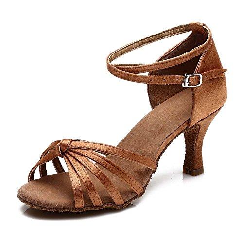 YFF Donna di sala da ballo latino scarpe da ballo salsa con tacco 15 caldo di stile Brown