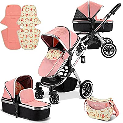 iVogue - Peach Luxury 2in1 Pram Stroller Travel System by iSafe (2017-2018)