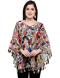 CHAKUDEE Women's Georgette Digital Printed Tassel Lace Poncho Cape Top