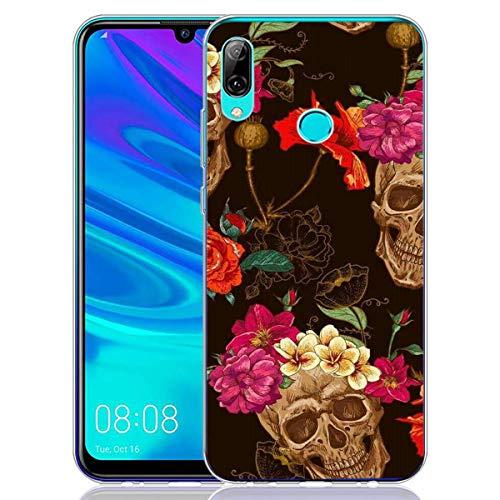 2Buyshop Hülle Kompatibel mit Huawei P Smart 2019 Handyhülle Einteilige Transparent Silikon TPU Case Crystal Clear Kratzfeste Anti Rutsch Halloween Schädel Schutzhülle (Beste Halloween-dekoration 2019)