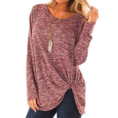 MOTOCO Damen Langarmshirts V-Ausschnitt wisted Sweatshirt Loose T Shirt Blusen Tunika Tops(S,Rosa)