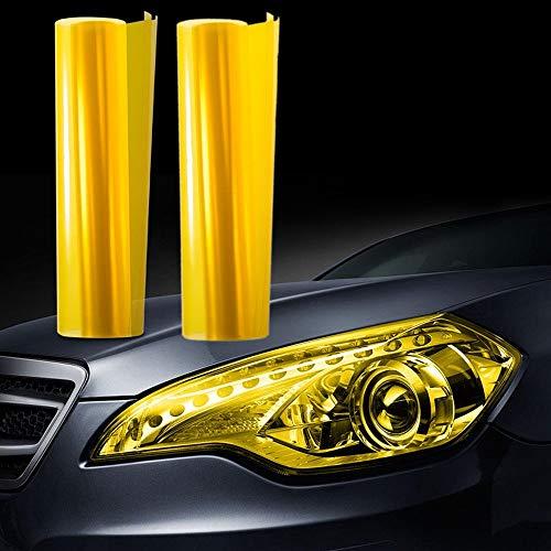 JZK 30cm x 200cm éclairage voiture Film vinyle teinté jaune pour phare feu arrière feu antibrouillard cache de protection autocollant couleur changeante de lumière voiture