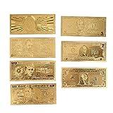 Leaftree 1 2 5 10 20 50 100Dolares Billetes realistas Decoración 7PCS / Set 24 K dólares chapados en Oro EE. UU. Recuerdo Oro Plateado Antiguo