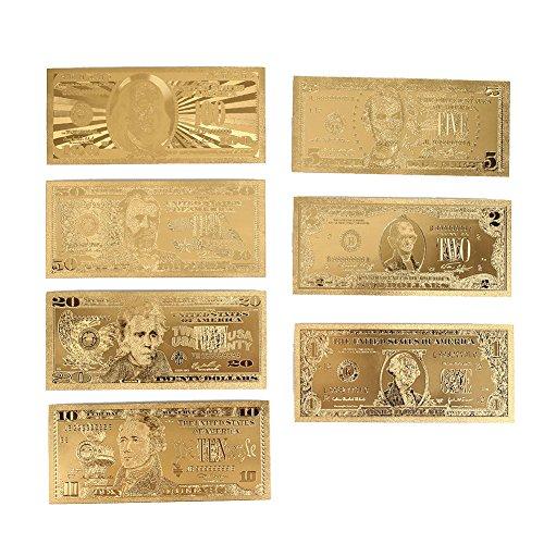 Rosepoem 1 2 5 10 20 50 100 Dollar 7 Teile / satz Realistisch Vergoldet Antiquität Geschenk Sammlerstück