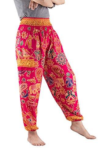 Lofbaz Mujer Harem Boho Dulce Elefantes Cintura Elástica Pantaloni Rosa M