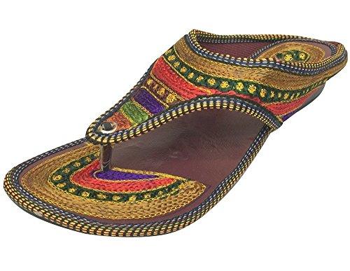 (Step n Style handgefertigte Zehentrennersandalen, Boho, Hippie, Ethno, Sari, Kurti, mehrfarbig - mehrfarbig - Größe: 37)