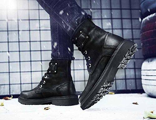 Hommes Anglais Martin Bottes Automne Hiver En Plein Air Trekking Hautes Bottes Fourrure Doublée Grandes Chaussures De Travail De Taille Noir