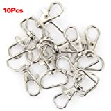 Arandelas con ganchos giratorios para tiras y cadenas, 10 unidades, color plateado