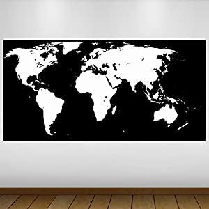LagunaProject Extra Grande Mapa del Mundo Abstracto de Vinilo Póster – Mural Decoración – Etiqueta de la Pared -140cm x 70cm