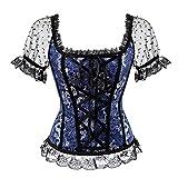 Zooma Damen Steampunk Gothic Korsett Bauchweg Corsage Vollbrust Bustiers Top (M/Taille 66 cm, Blau)