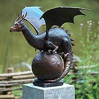 Bronze-Wasserspeier 'Drache auf Kugel'