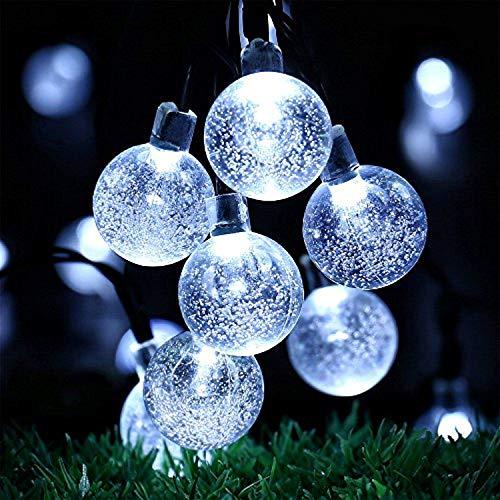 OxyLED Solar Lichterkette Aussen,6 Meter 30LED Solar Lichterkette Kristall Kugeln Weiß,Außerlichterkette Deko für Garten, Bäume, Terrasse, Weihnachten, Hochzeiten, Partys, Innen und außen