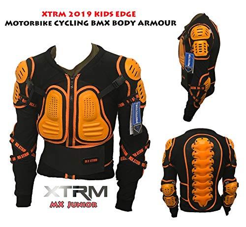 XTRM Edge Deflector Kinder K?rperpanzer Motorcross Jacke Quad Cross Race R?Stung Off-Road Sportjacke Motorradjacke f?r Motocross, Enduro, BMX Pit ATV Bike mit Protektoren (Orange,10)