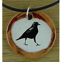 Echtes Kunsthandwerk: Toller Keramik Anhänger mit einem Raben; Vogel, Krähe, schwarz