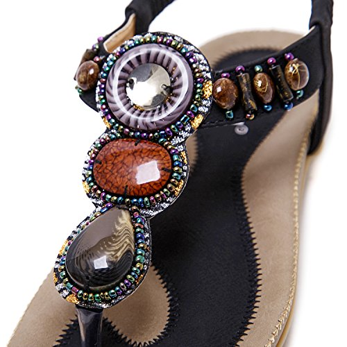 ZOEREA Sandali da donna da estate, piatti, modello con infradito PU Cuoio bassi Sandali elegante Bohemia Perline decorate Nero