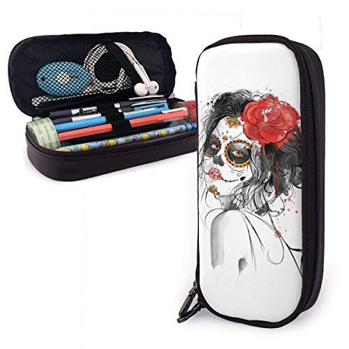 Pencil Case Big Capacity Storage Pen Pencil Pouch Box Organizer Portable Bag Holder with Zipper - Death Day Dia De Los Muertos -