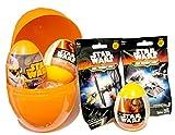 Kit de regalo de cumpleaños para niños: huevo sorpresa gigante con diseño de Star Wars lleno con juguetes, bolsas y huevos de Star Wars y camiseta para niños