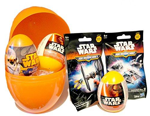 JJCkids Jungen Geburtstag Geschenk Set-Star Wars Mottoparty Giant Überraschung Ei gefüllt mit Star Wars Spielzeug, Taschen und Eier + Unsere Kinder T-Shirt
