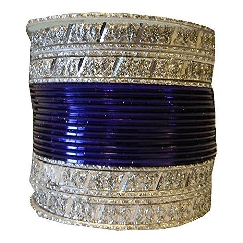 Indian Bangles 24 Bracelets darkblue 6,5cm with Bindis Jewellery Bollywood