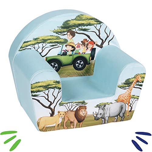 Babysessel Kinder Sessel Baby Sitz Kindermöbel für Jungen und Mädchen SAFARI Blau ()