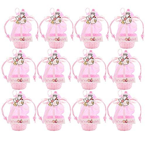 Aolvo Mini Candy Kästchen Geburtstag Geschenk Mädchen Baby Dekorationen Treat Box Supplies, Party Baby Dusche Korb Gastgeschenken Candy Box Geschenk-Box, pink (12), rose, 6x10cm